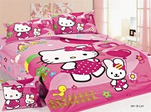 Hello Kitty cartoon bedding sets single twin size bedclothes duvet covers sheets cotton 400TC girl baby bedroom decor pink color
