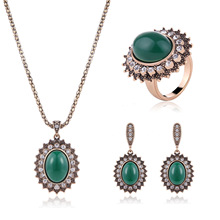 2017 Rushed New Resin African Beads Jewelry Set Alloy High - Grade Three Piece Sets Europe And The Party Necklace Jewelry Suite