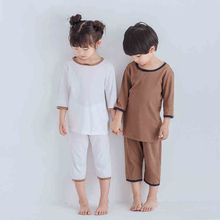 Children's pajamas summer boys and girls home in uniform cotton thin air conditioner with five-minute sleeves