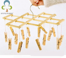 Bamboo Clothes Folding Strong Spring Clamps Multifunctional Dryer Socks Rack Home Creative Drying Tools LYQ