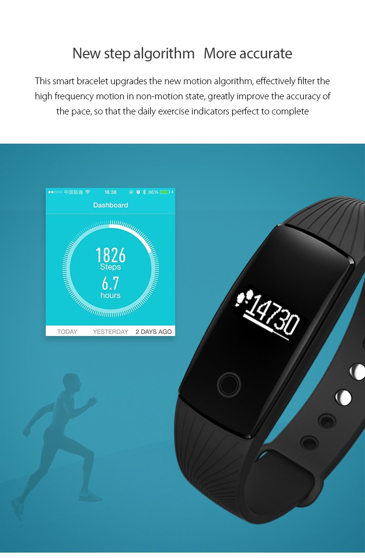 9Tong Bluetooth Wristband Bracelet Fitness Tracker Heart Rate Sleep Monitor Dynamic Pedometer Smartband for IOS Android B0 6