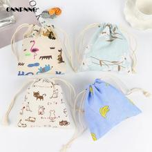 Creative Cute Cartoon Animal Storage Bag Drawstring For Storage Bag Organizator Candy Box Accessories Cloth Bag Kitchen Storage(China)