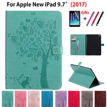 High quality Cat Tree Pattern Stand PU leather Case For Apple New iPad 9.7 2017 Cases Cover A1822 Funda Tablet Shell +Film +Pen(China)