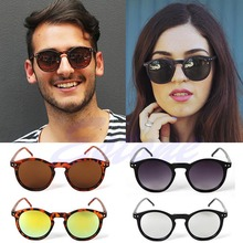 [LvDing] Women Men Round Metal Frame Mirror Lens Cats Eye Sunglasses Unisex