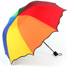 2017 Hot Summer suppliers  Top Quality Fashion rainbow Straight  rain umbrellas paraso #0724 C