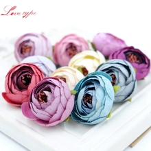 10PCS 3CM Silk Artificial Tea Rose Bud Flowers Head For Wedding Decoration DIY Wreath Gift Box Scrapbooking Craft Fake Flowers(China)
