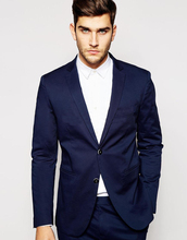 Fashion blue dress jacket, pants gap, lapel, two men's suits, custom self-cultivation, best man wedding dress (coat)(China)