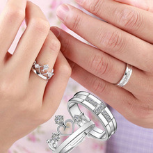 1PC Prince Princess Queen Silver Couple Rings Wedding Band His and Her Promise Ring