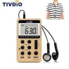 TIVDIO V-112 Mini Pocket Radio FM AM 2 Band Radio Receiver Digital Tuning with Rechargeable Battery & Earphone Best F9202C(China)