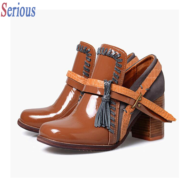 Color Match Women Shiny Leather Short Boots Single High Heel Tassel Top Quality Nice Looking Female Sapatos Mujuer<br><br>Aliexpress