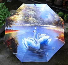 Beautiful Night Lover Goose Oil Painting Parasol Umbrella Folding Classic Anti-uv Sunshade Durable Umbrella with Black Coating