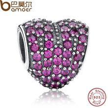 Dazzling 925 Sterling Silver LOVE Heart Shape Charm Fit Bracelet with Red Cubic Zirconia Jewelry Making Wedding Gift PAS057(China)