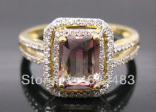 2.35CT SOLID 14K YELLOW GOLD NATURAL FLAWLESS PINK TOURMALINE . RING