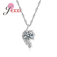 PATICO Trendy CZ Crystal Leaves Design Pendant Necklace Jewelry For Women With 925 Sterling Silver Chain Best Party Bijoux Gifts(China)