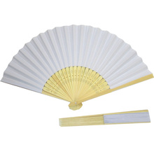 10pcs/lot white Paper Hand Fan wedding favor Children drawing item(China)
