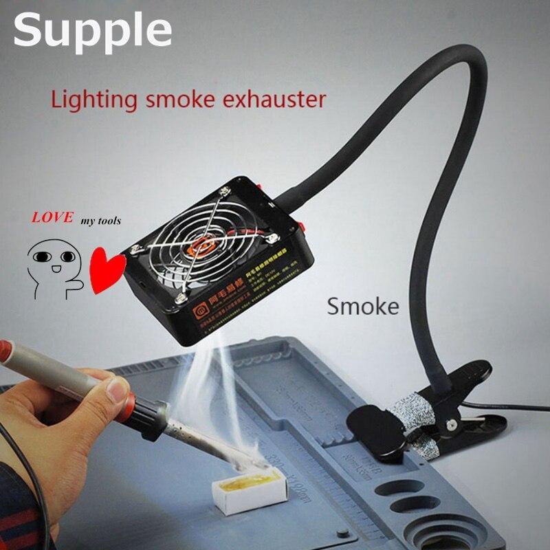 Supple lighting Smoke exhauster Electronic repair smoking and lighting dual use Soldering station smoking device Exhaust fan    <br>
