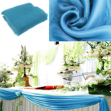 Wholesale Wedding Decoration 5meter Width Teal blue Colour Sheer Mirror organza Fabric Wedding christms  Decoration