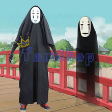 Anime Miyazaki Hayao Spirited Away Kaonashi No Face Faceless Figure Cosplay Cloak Full Set Halloween Costume Robe+Mask+Gloves