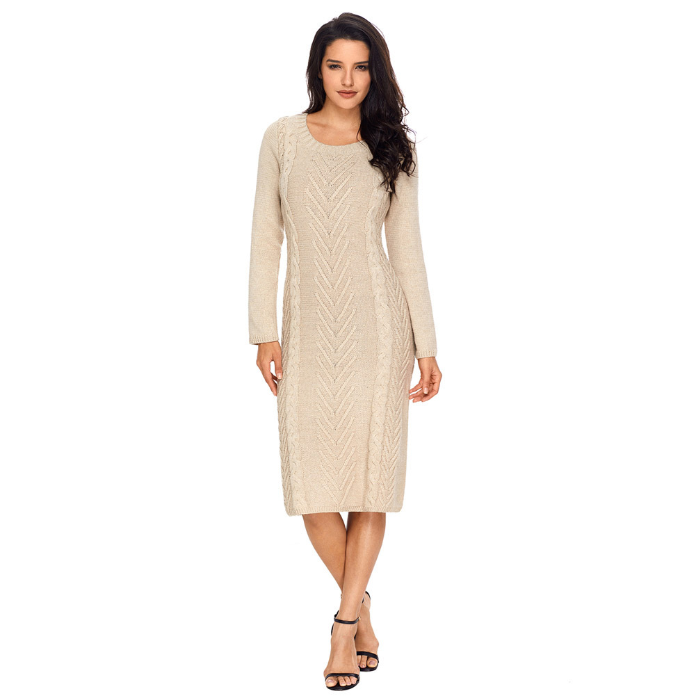 Winter unique knitted sweater round collar long sleeve long sleeved woman style dress 27772Îäåæäà è àêñåññóàðû<br><br>