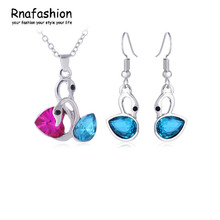 Silver Plated Crystal Wedding Necklace and Dangle Earring Classical Ambiguous Swans Jewelry Sets Gift conjunto joias