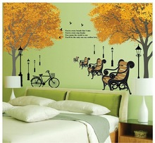 New Design European Style Maple Forest Street Lights Bicycle Chair Home Decoration Wall Stickers Living Room Bedroom Wallpaper
