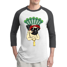 New Fashion Pug With Sunglasses T Shirts Men Euro Size 3/4 Sleeve Raglan Peacock Feathers Men tshirt Cotton Casual Man Tops Tee