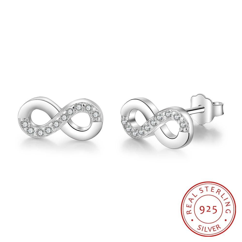 Long 925 Sterling Silver Figure of Eight Infinity Drop Earrings