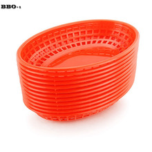 12pcs 9.5'' Plastic Fast Food Basket Dinner Hot Dog Sandwich Serving Trays Dozen Plastic Plates Restaurant Bar Accessories