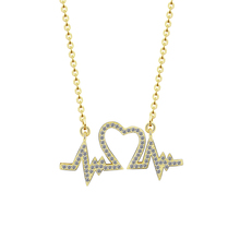 Personalized Thumping ECG Heartbeat Necklace Shining Cubic Zirconia Love Heart Wave Electrocardiogram Necklace For Doctor Nurse