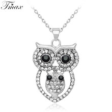 TengMaxi Hot Sale Shine Rhinestone Owl necklaces & Pendants Fashion Choker wholesale All-match Exquisite Jewelry Necklace(China)