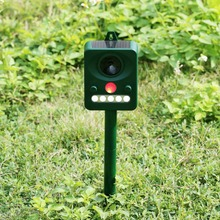 Professional Solar Power Infrared Sensor Animal Cats Dogs And Outdoor Bird Repeller Strong Ultrasonic Wave RCT-512 Green(China)