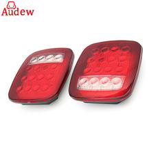2Pcs 16 LED Car Tail Light Waterproof Truck Trailer Boat Stop Turn back up reverse Light Lamp  Red/White