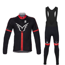 FELT Men`s Long Sleeve Breathable Team Cycling Bib Set Spring/Autumn Bike Pro Bike Clothes Ropa Maillot Ciclismo with 9D Gel Pad(China)