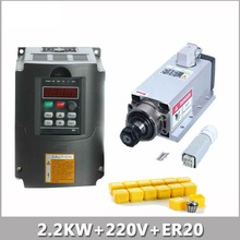FOUR BEARING ER20 SPINDLE MOTOR 2.2KW AIR-COOLED220V &2.2KW VFD INVERTER DRIVE+ER20 CNC