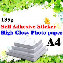 Glossy Sticker Self Adhesive Cast Coated Glossy Photo Paper apply to ink jet printer 135gsm high Glossy Photo Paper 20sheets/bag