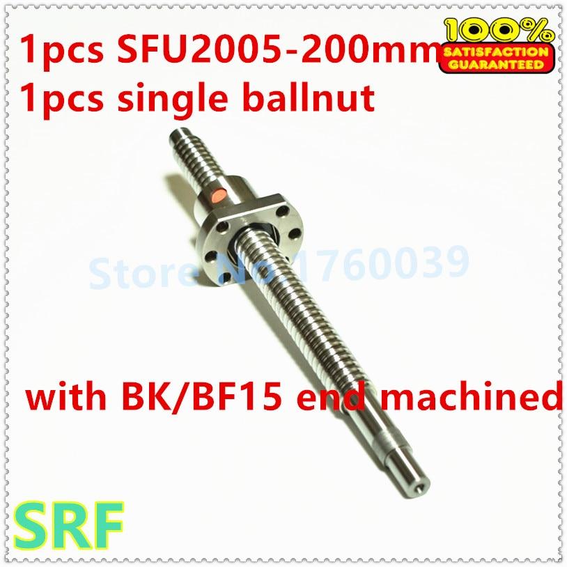 20mm BallScrew 2005 set:1pcs Rolled Ball screw SFU2005 L=200mm + RM2005 single Ballnut  with BK/BF15 end processing<br>