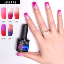 BELLE FILLE Thermo Color Change Soak Off UV Gel Nail Polish UV & LED Nail Gel Summer Pink Neon Color Lacquer Varnish(China)