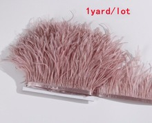 1yard/lot Ostrich Feather Plumes Fringe trim 10-15cm Feather Boa Stripe for Party Clothing Dress Skirt Accessories Craft(China)