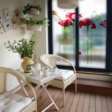 Free Customized Stained Static Cling Window Film Frosted Opaque Privacy Glass Sticker Home Decor Digital print BLT385 Corn Poppy