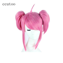 ccutoo 35cm High Temperature Fiber Synthetic Pink Hair Cosplay Costume Wigs Peluca Chip Ponytails Costume Party Game Wigs