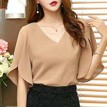 Women Chiffon shirt short-sleeved 2017 summer new Korean women's sexy V-neck loose lotus leaf  plus size blouse 900C 30