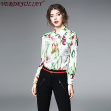 Ladies OL Blouse 2018 New Spring Fashion Turn-Down Collar Single Breasted Vegetables Print High Quality Colorful Popular Blouse(China)