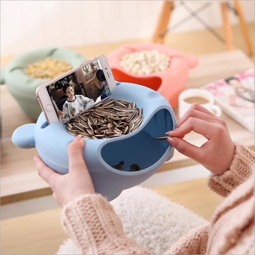 Cute Bear Snack Food Storage Box Multi-functional Circular Storage Container Organizer Double Layer Plastic Desktop Boxes 667(China (Mainland))