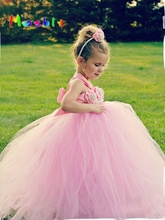 Flower Girl Tutu Dresses Wedding Easter Junior Bridesmaid Soft Pink Princess Girl Dress Children Clothes For Girls