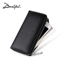 DEELFEL Men Wallets Leather Purse Men's Clutch Wallet Business Carteras Mujer Walet PU Leather Long Wallet Male portemonnee(China)