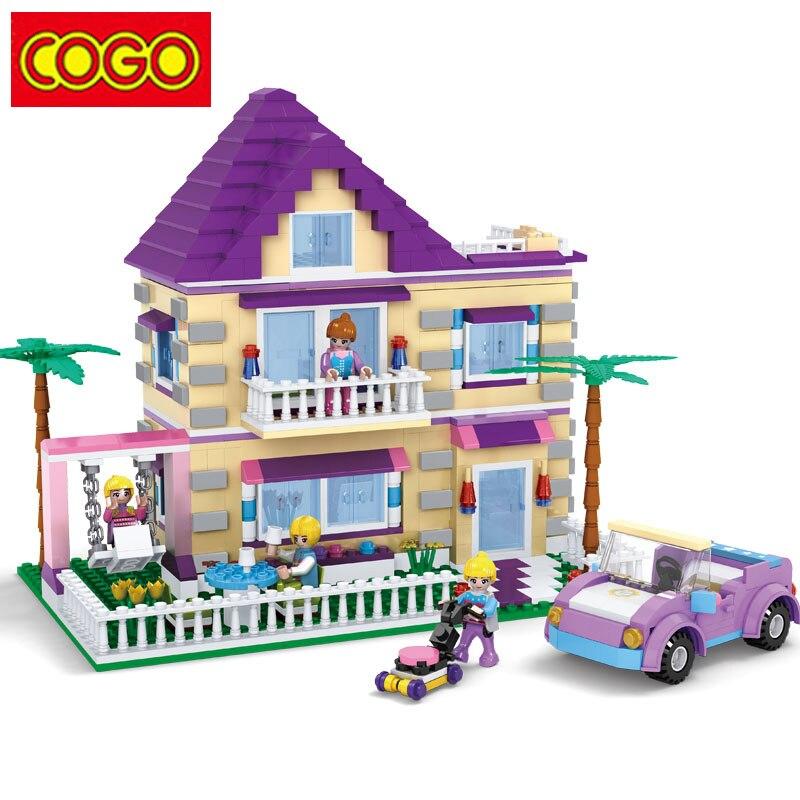 COGO Girl Series Building Blocks Princess Villa Model Building Block Educational Blocks DIY Bricks Playmobil Toys For Children<br>