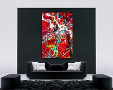 QCART Jackson pollock Style Picture Painting Wall Art  Home Decor Living Room Modern Canvas Print No Frame