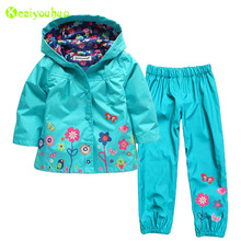 KEAIYOUHUO Children Girls Clothing Sets 2017 Winter Girls Clothes Set Raincoat Jacket+Pants 2pcs Kids Clothes Girls Sport Suit(China)