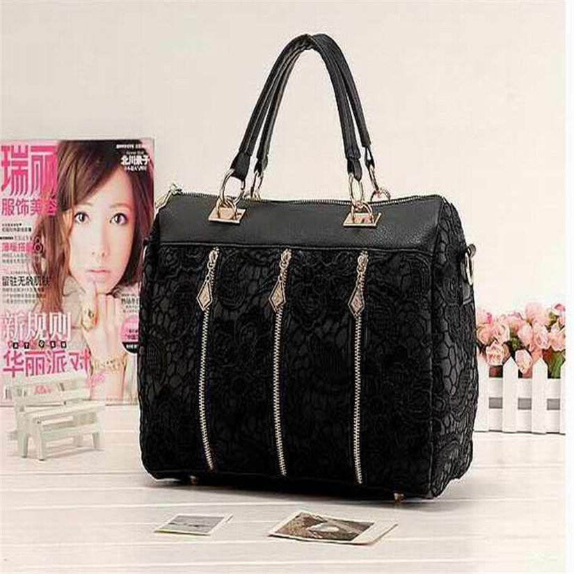 Best Gift Fashion PU Leather Messenger Bag Tote Shoulder Bag Lace Handbag Black a21  Drop Shipping Wholesale<br><br>Aliexpress