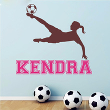 T07021 Custom Girls Name Stickers Girl Soccer Vinyl Wall Decal Football Wallpaper Girls Rooms Wall Art Mural Decor